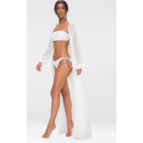 098eecdfca740 PrettyLittleThing Other | Plt Alice White Maxi Belted Beach Kimono ...